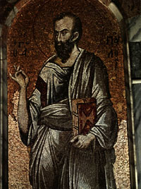 St Paul: 14th-century mosaic from the Kariye Church, Istanbul.